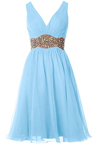 MACloth Women Straps V Neck Chiffon Short Prom Dress Wedding Cocktail Ball Gown Sky Blue