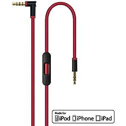 Remplacement 2.0 Câble audio avec micro en ligne microphone et télécommande Control Talk pour Apple Beats by Dr Dre/Monster casque – Studio, Pro, Solo, Mixr, Detox | iPhone Aux auxiliaire câble Rouge
