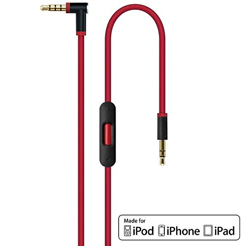 ErsatzKabel Audio Rot Verlängerungskabel für Beats by Dr Dre/Monster Kopfhörer mit Inline Mikrofon, Lautstärkeregler, und Anrufannahme - Studio | Solo | Wireless | Pro | Mixr - iPhone 3,5mm Aux Stereo (Beats Studio Wireless Rot)