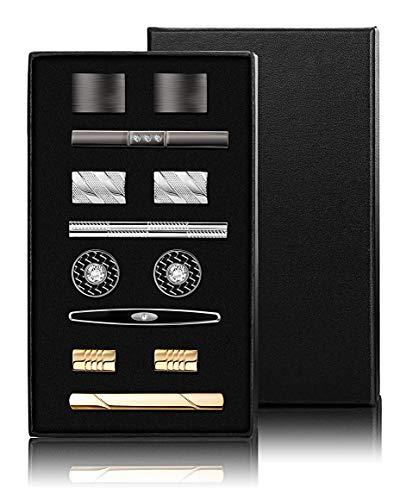 YADOCA Krawattenklammer und Manschettenknöpfe für Männer Krawatte Krawattenklammern Business-Shirts Smoking Hochzeitsgeschenk mit Box Silber-Ton Gold-Ton Schwarz - Silber-gold-ton