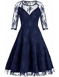 7cb2bd2d322 OverDose Damen Partykleider Frauen Vintage Spitze Formale Patchwork  Hochzeit Retro Schaukel Kleid…