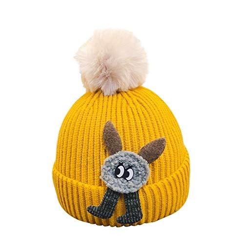 Personalisierte Stricken Hut (FENGJIAREN Kinder Winter's Hut Warme Hand - Stricken Hat Cartoon Weihnachten Baumwolle Pullover Gap Gelb)
