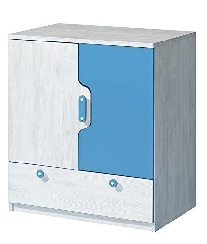 Preisvergleich Produktbild Kommode NUKI Kinderzimmer Babyzimmer (Norwegische Kiefer - Hellblau)