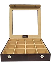 Essart PU Leather Suede Finish Brown Multi-Purpose Makeup and Cufflinks Box with 16 Slots