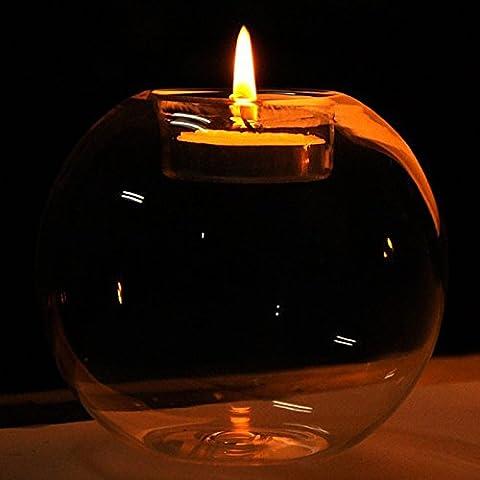 LanLan Vintage Crystal Candlestand Diameter 8cm Round Glass Candle Holder Party Wedding Decor