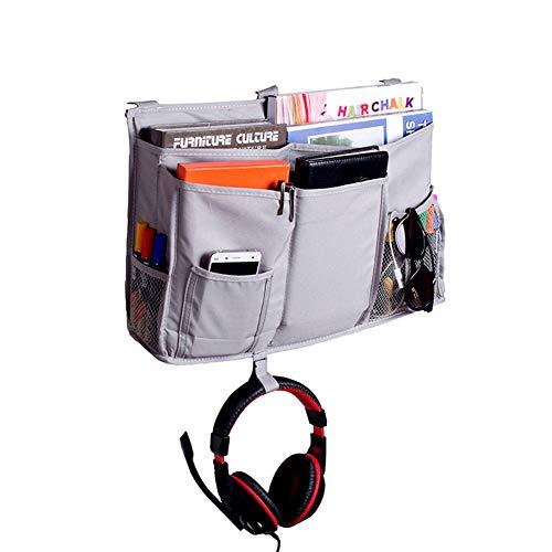 HGJ68-E - Organizador de mesilla de Noche con 8 Bolsillos para Dormitorio, litros, Cama, TV, Mando a Distancia, Soporte para bebé, Gato, Cochecito de bebé, pañales y portavasos, Gris, 19.7X11.8inches