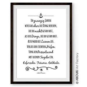 ABOUKI Kunstdruck - ungerahmt - mit Mark Twain Zitat (Deutsch/Englisch), Poster, Geschenk-Idee für Sie Ihn, Zitate & Sprüche