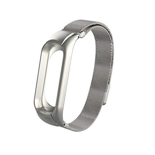Pulsera Xiaomi Mi Band 3 Correas, ☀️Modaworld Correa magnética milanesa Venda Banda de Reloj de Acero Inoxidable para Xiaomi Mi Band 3 Correas de Reloj Inteligente (Plata)
