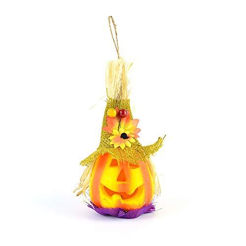Halloween Deko Grusel Dekoration Set Halloween Kürbis Licht Vogelscheuche Spielzeug gelb 1 Packung für Halloweendeko Make-up-Party Halloween Dekoration