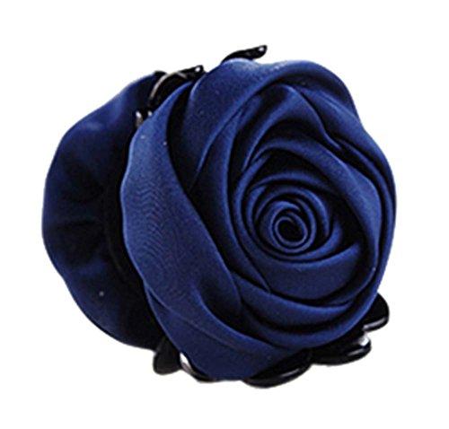 un Belles Clips Rose Fleur Cheveux Ponytail clip, bleu marine