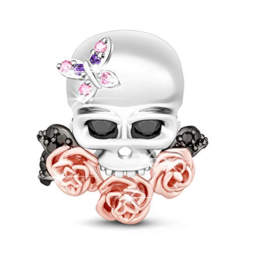 Anhänger 925 Sterling Silber Bead Charms mit Zirkonia Charm Schmuck für alle Armbänder Halsketten Geschenke Bijouterie für Halloween Damen Männer (Style-4) ()