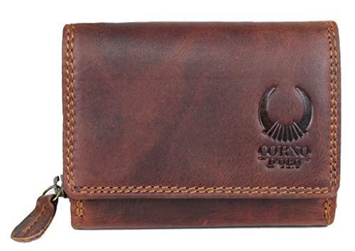 Kleine Damen Leder Geldbörse/schlanker Geldbeutel mit RFID Schutz TÜV geprüft/Mini Herren Portmonee/Portemonnaie in Geschenk-Box braun Corno d´Oro 14050