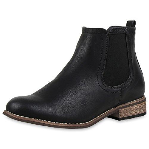 napoli-fashion Damen Stiefeletten Flache Chelsea Boots Leder-Optik Damen Stiefeletten Schwarz Braun 36 Jennika (Kleid Braun Stiefel Leder)
