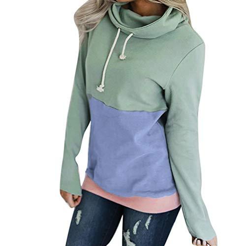 TWIFER Frauen Casual Farbblock Langarm Sweatshirt Jumper Pullover Bluse
