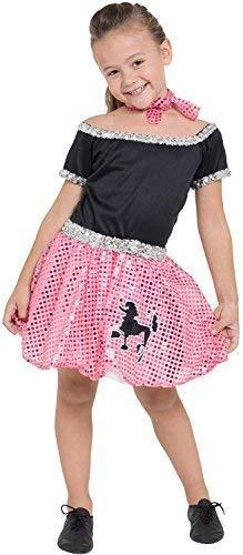 Kostüm Buch Vintage - Fancy Me Mädchen 1950s Jahre 50s Jahre Pudel Paillette gepunktet Retro Vintage TV Buch Film Kleid Kostüm Kleid Outfit 4-10yrs Jahre - Rosa, 7-9 Years