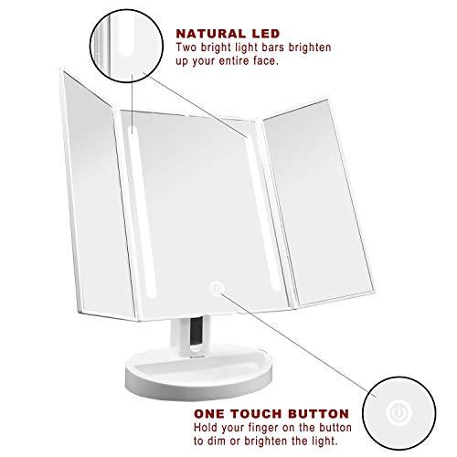 Auxent Kosmetikspiegel mit LED Beleuchtung und Touchscreen aus Kristallglass und ABS Kunststoff, Tischspiegel Schminkenspiegel Beleuchtet mit Blendfreier Bleuchtung für Wohnzimmer, Kosmetikstudio, Spa und Hotel - 3
