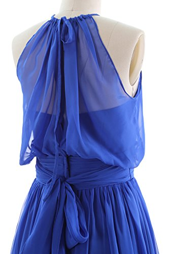 MACloth Women Halter Chiffon Short Bridesmaid Dress Cocktail Formal Party Gown Sky Blue