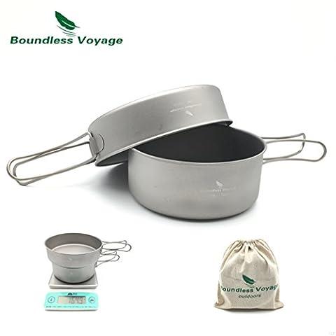 Outdoor Camping Ultralight 2PCS Titanium Pot Set Titanium Cooking Pan With Folding Handle 500ML+600ML Only 164.9g