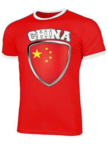 China 5511 Fussball Fanshirt Fan Shirt Tshirt Fanartikel Artikel Männer Herren Ringer T-Shirts Rot Weiss L