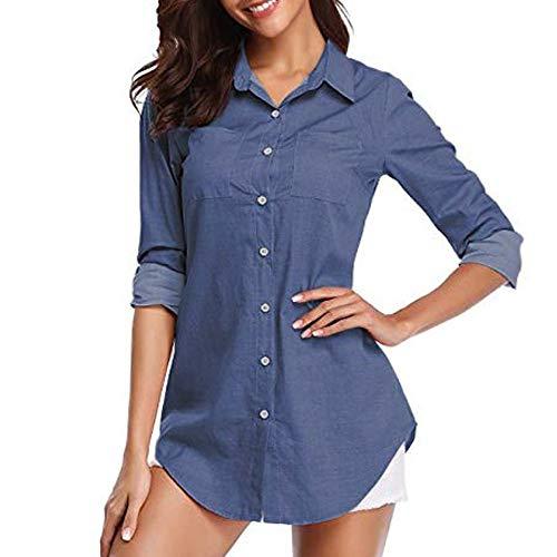 VEMOW Elegante Damen Frauen Denim Solide Tasche Button-Down-Shirt Langarm Casual Täglich Freizeit Jeans Top Bluse(Blau, EU-44/CN-XL)