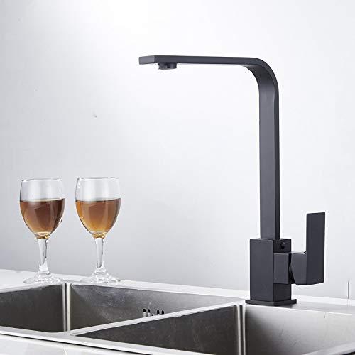 Grifo mezclador de agua caliente y fría rotativo negro/grifo de agua A