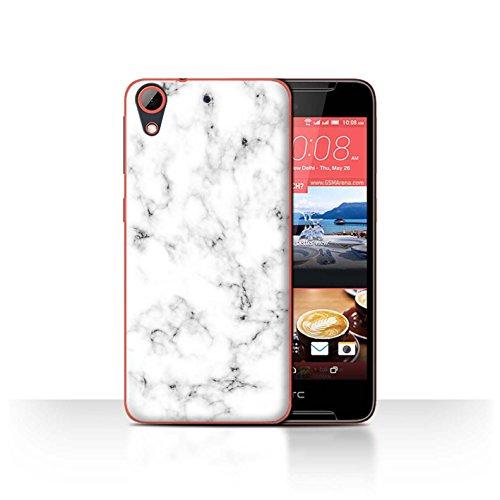 Stuff4® Hülle/Case für HTC Desire 628 / Weiß Muster/Marmor Granit Bewirken Kollektion