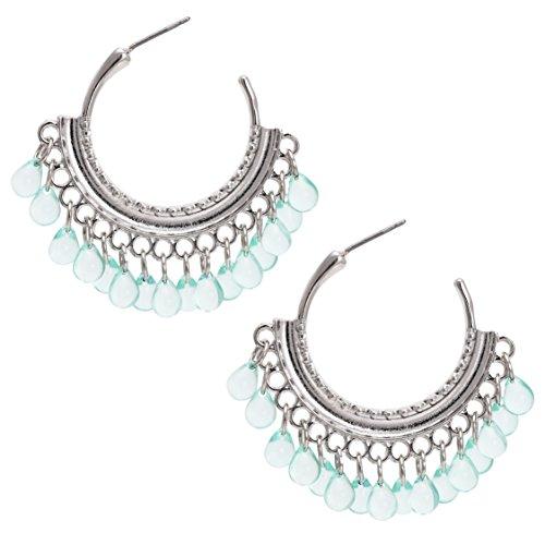 Bonaluna Damen Perlen Wassertropfen schwang Quaste Reifen Türkis (Wulst-reifen)