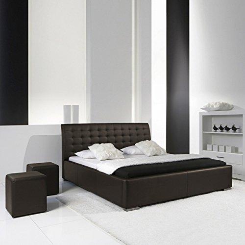 Modernes Polsterbett 100x200 l Kunstleder Braun l meise.möbel
