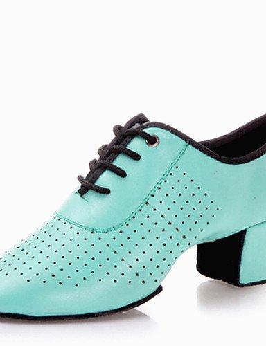 Sandales mode moderne de la femme latine Chaussures de danse talons Talon bas en cuir respirant noir/or/rouge/vert US8/EU39/UK6/CN39