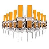 ONLT 10X G4 3W COB LED Leuchtmittel, AC / DC12-24V 3000K 300LM LED Bi-Pin-Lampe, 25W Halogenlampen Ersatz, nicht-dimmbar, 360 Grad Abstrahlwinkel, LED Birnen,Led Lampe,Crystal Spotlight Bulb (Warmweiß)