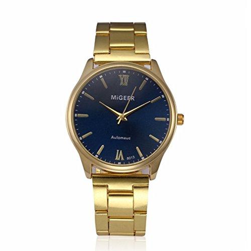 Herrenuhr, Zarupeng Edelstahl Analoge Quarz Armbanduhr Mode Stahluhr Klassisch Retro Geschäfts-Uhr Legierungsband Analoge Armbanduhren (One Size, D)