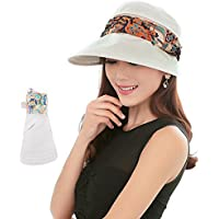 2-in-1 Folding Roll Up Wide Brim Sun Visor Cap UPF 50+ UV Protection Sun Hat with Detachable Neck Protector Hood for Travel Holiday Beach Swimming Cycling Camping Hiking Trekking Running Headwear