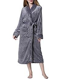 Zhhlaixing Hombres Mujeres Luxury Soft & Cosy Flannel Fleece Shawl Collar Bath Bata Dressing Gown Albornoces