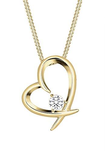 Elli Damen Schmuck Halskette Kette mit Anhänger Herz Liebe Freundschaft Liebesbeweis Silber 925 Vergoldet Zirkonia Gold Länge 45 cm