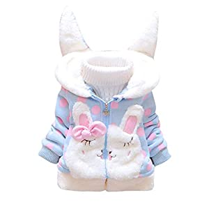 Conjunto de bebé cálido Toamen Toddler Kids Baby Girl Fleece Warm Thick Rabbit Ears Hooded Coat Outwear 8