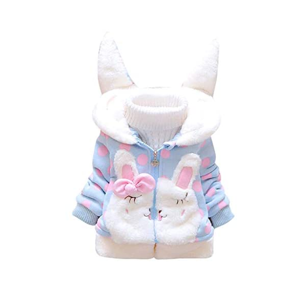 Conjunto de bebé cálido Toamen Toddler Kids Baby Girl Fleece Warm Thick Rabbit Ears Hooded Coat Outwear 1