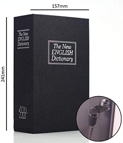 ANXWA Buch-Safe Buch-Safe Mit Schlüssel Tragbarer Safe Verstecktes Sicheres Buch Enthält 2 Schlüssel Zur Aufbewahrung Von Geld Schmuck Waffe Und Reisepass,Black-Medium