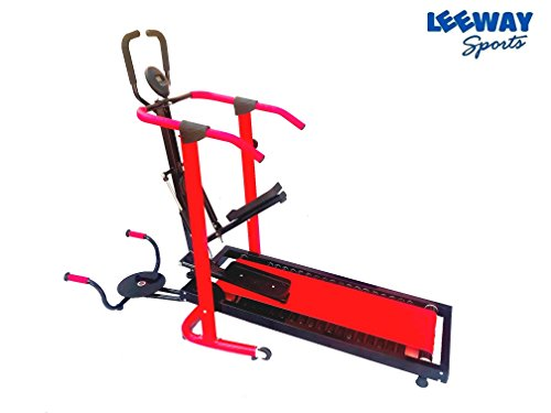 Manual Jogger Treadmill 4 in 1 by Leeway| Roller Jogging Machine For Home| Foldable Tread Mill| Multifunction Walking and Jogging Running Exercise Machines|Lifeline Cardio Excersice- (RED)  available at amazon for Rs.15499