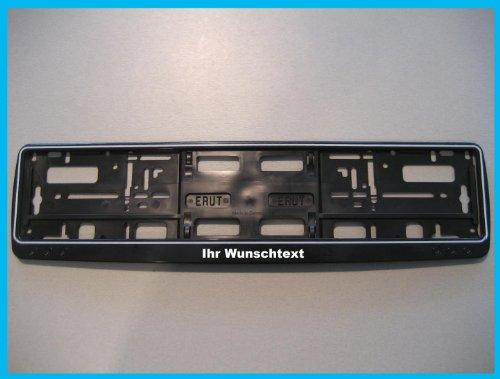 Preisvergleich Produktbild 1 Kennzeichenhalter schwarz mit Wunschtext beschriftet Kennzeichen