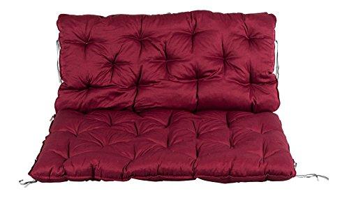 Meerweh Palettenkissen mit Rückenkissen Sitz und Rückenlehne mit Bänder ca. 120 x 140 cm Polsterauflage rot