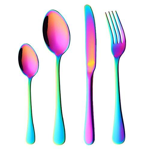 Buyer star 4 pezzi posate colorate, posate arcobaleno acciaio inossidabile set di posate argenteria cena utensili set coltelleria