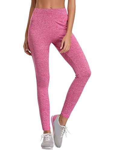 Aibrou Damen Leggings Lang Sport Yoga Hose Stretch Trainingshose Rosa