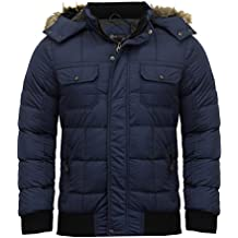 Mens Dissident Enyo Hooded Jacket With Detachable Faux Fur Puffer Padded Parka Coat