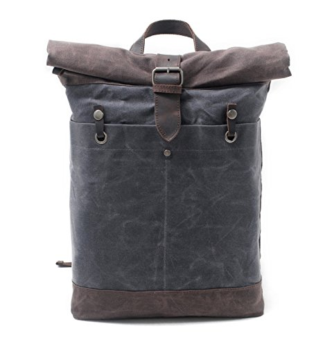 VADOOLL Herren rucksack Waxed Canvas Roll Top Rucksack passt 15 Zoll Laptop und Notebook (Canvas-notebook-rucksack)