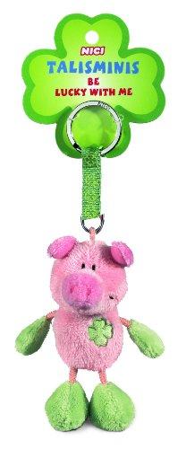 Beanbag Schlüsselanhänger Talismin 7 cm, rosa-grün (Schwein Aus Sah)