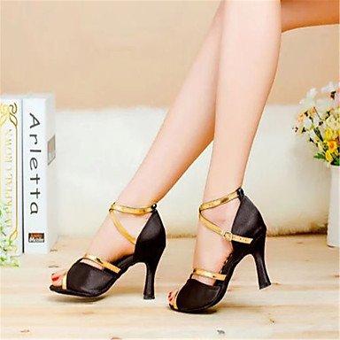 Donne Aemembers scarpe da ballo latino / sala da ballo in raso tacco svasato 7.5cm Altezza tacco nero / blu / rosso / Leopard,2 1/2 (6.3cm) Cuban Heel,blu,US5 / EU35 / UK3 / CN34 Black,US4-4.5 / EU34 / UK2-2.5 / CN33