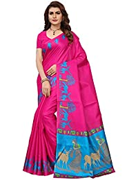 Ishin Women's Polysilk Pink & Blue Printed Saree/Sari With Blouse Piece
