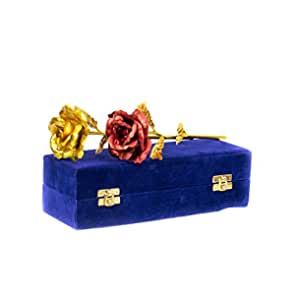 MSA Jewels 24CT Gold Foil Golden Rose and Red Rose Artificial Flower Combo Pack Velvet Box (30 X 10 X 8 cm)