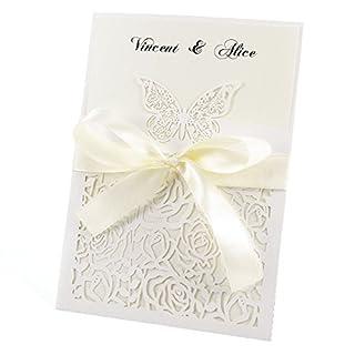 Anladia 20er Ivory Weiss Einladungskarten Elegante Schmetterling & Rose Spitze Design mit Karten, Umschläge, Schleifer, Einlegeblätter OHNE DRUCK Hochzeit Geburtstag Taufe Party Einladung #27