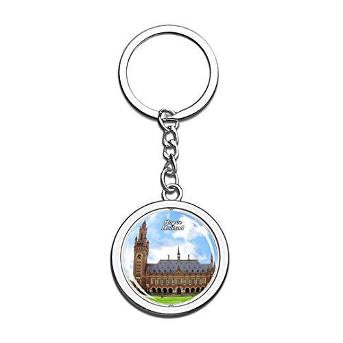 Friedenspalast Den HAAG Niederlande Netherlands Keychain 3D Crystal Spinning Round Stainless Steel Keychains Travel City Souvenir Key Chain Ring
